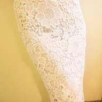 White Knee-Length Jacquard Lace Skirt