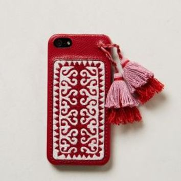Embroidered iPhone 5 Case by Jasper & Jeera Red One Size Jewelry