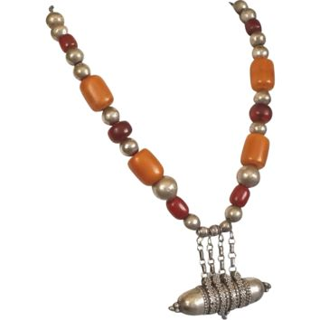 Antique Yemenite Islamic Necklace Bedouin Amber,Bakelite and Silver Beads