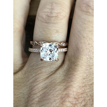 A Perfect 14K Rose Gold 2CT Cushion Cut Russian Lab Diamond Bridal Set
