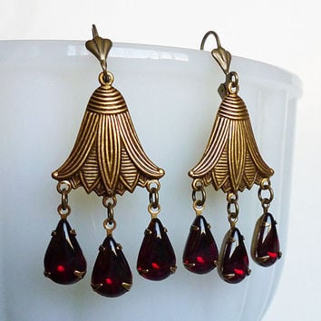 MOTHERS DAY SALE Dripping Lotus // Romantic Antiqued Brass Lotus Flower and Vintage Garnet Chandelier Earrings, 1950s Gems, Fleur de Lys Got