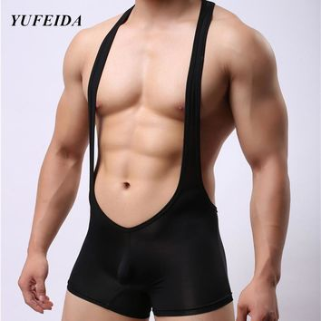 2017 Stretch Tight Unitard Leotard Sexy Wrestling Singlets Teddies Bodywear Lingerie Gay Suspender Jockstrap Jumpsuit Size M-XL