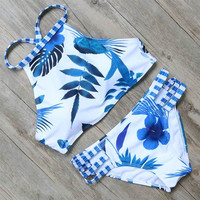 Tropical Blue Two Piece Bikini Set
