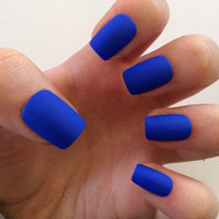 Royal blue fake nails, matte nails, matte press on nails