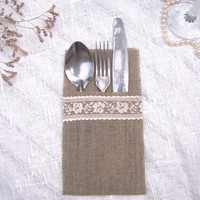 Set of 25 Wedding burlap linen silverware holders with creamy lace. Rustic table decor. Cutlery Holder.