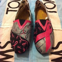 Custom Hand Painted Breast Cancer Toms