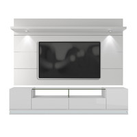 Vanderbilt TV Stand and Cabrini 2.2 Floating Wall TV Panel with LED Lights in White Gloss