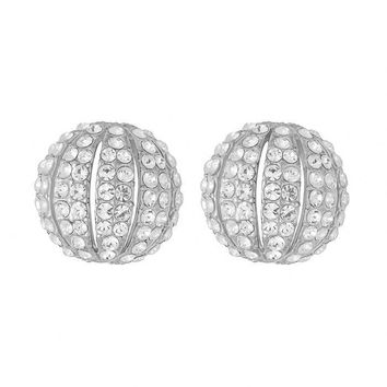 Clear Stellux Austrian Crystal Half Balls Stud Earrings in Silver Plated