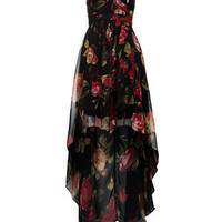 AX Paris Black Rose Print Strapless Dress