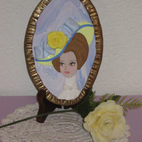 """Polymer Clay Plaque, """"Hat Lady"""", Sculpture Picture, Edwardian Hat"""