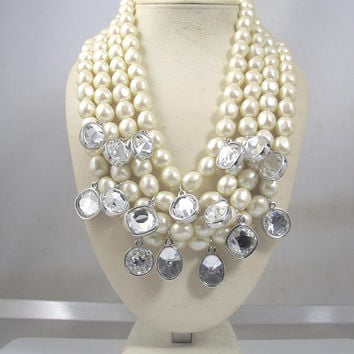1980's Yves Saint Laurent Pearl Necklace, Four Multi Strand Baroque Pearl Crystal Dangle Statement Necklace YSL Haute Couture Runway Jewelry