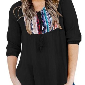 Womens Embroidered Neck 3/4 Sleeve Black Crepe Top