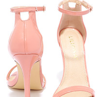 VIP Ticket Blush Patent Ankle Strap Heels
