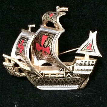 Damascene Sailing Ship Brooch Pin Spanish Galleon Signed Spain Gold Tone Black Silver Red Maltese Cross Mid Century Jewelry 518