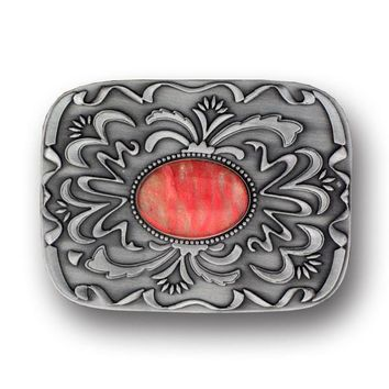 Sports Accessories - Pink Stone with Western Scroll Rhinestone Belt Buckle