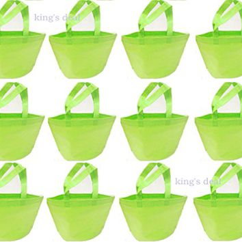 "King's Non-woven Reusable Kids Carrying Shopping Grocery Tote Bag for Party Favor in Retail Packaging -13"" (green 12)"