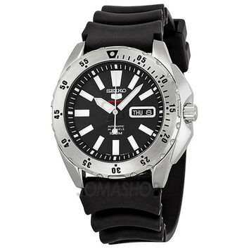 Seiko SRP357K2 Men's 5 Sports Black Dial Rubber Strap Automatic Watch