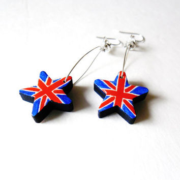 Union Jack Earrings - Patriotic England British Jewelry  - Wooden Star Dangle Earring English Flag Earrings Hand Painted