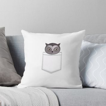 'Cute Animal Pocket Owl' Throw Pillow by poisondesign