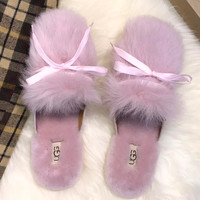 UGG Flat-heeled wool slippers