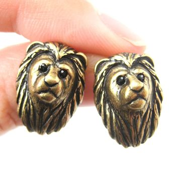 Lion Shaped Realistic Animal Stud Earrings in Brass | Animal Jewelry