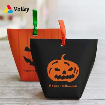 Happy Halloween Decor Pumpkin Witch Ghost Candy Boxs Baby Shower Birthday Party Gifts Organizer Paper Box Kids Favors Supplies,7