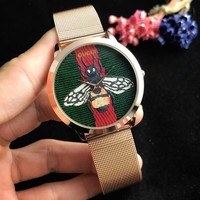GUCCI Fashion Men Women Classic Bee Embroidery Movement Watches Wrist Watch Golden
