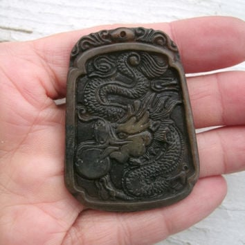 Chinese Dragon Carved Pendant - relief carving, rounded rectangle, Dragon with pearl, good luck amulet, historical, lore, fantasy, pendant
