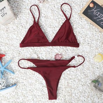 Solid Bikini Set Womens Swimsuit  + Free Gift Necklace