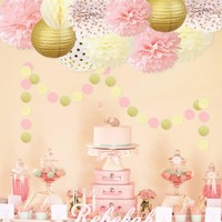 Pink and Gold Princess Party Decorations Set -Girls Birthday Party & Girl Baby Shower |Bridal Shower | First Girls Birthday Decoration