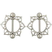 2PCS Surgical Steel Flower Circle Piercing Nipple Shield Ring Bar Fashion CCC