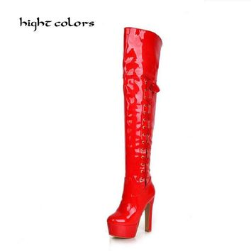 Plus Size 34-43 Women Boot Patent Leather Over the Knee Boots for Women Black Red Sexy High Heels Long Dancing Shoes DXM777