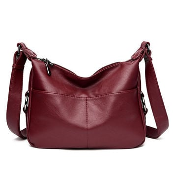 High Quality Women's Leather Handbags All-match Shoulder CrossBody Bags Fashion Messenger Bag Big Size Hobos Women Bags