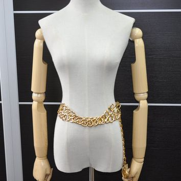 Authentic CHANEL Waist Chain Belt CC Logo Medallion Gold Tone 45381