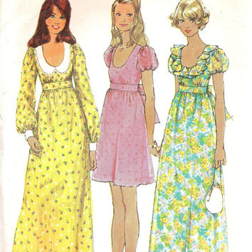 70s Hippie Boho Style Sewing Pattern Simplicity 5568 Empire Waist Maxi Mini Dress Puff Sleeve Gown Full Length Size 15 Bust 36