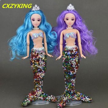 CXZYKING 3D Real Eye Kawaii 12 Joint Movable Barbie Doll+ Mermaid Dress 2018 Fashion Toys For Kids Girls Play House Toy