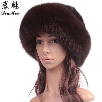 Genuine Mink Fur Beanies Hats Russian Fluffy Real Fox Fur Bucket Hat Elegant Beanies Women Real Mink Fur Hat Female Caps