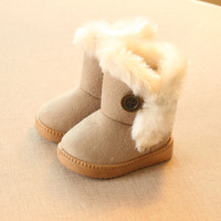 2016 Cotton-padded Suede Buckle winter Girls Boots Boys ankle baby Snow Boots Winter Children Boots Thick Warm Shoes Kids Shoes