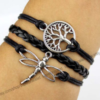 Wishing trees bracelet, dragonfly bracelet, ancient silver bracelet, black leather, friendship, girlfriend and BFF