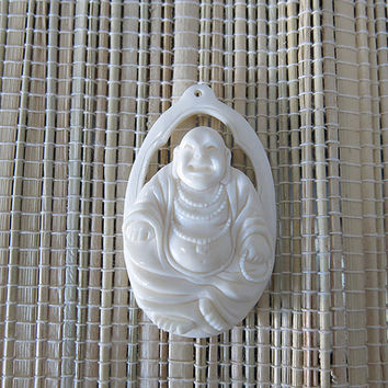 Hand Carved Laughing Buddha - Bone Pendant - Bone Carving - Bali Handmade Jewelry