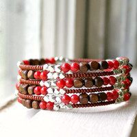 gypsy coral and wooden bead memory wire bracelet