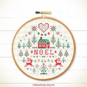Folk Christmas cross stitch pattern - Noel Christmas - Xstitch Instant download - Modern Xmas christmas trees deers Love Heart Sweet Home