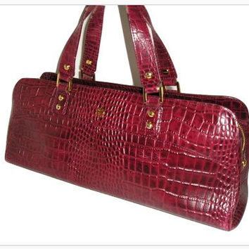 Vintage ETIENNE AIGNER France BURGUNDY Alligator Embossed Leather Large Barrel Handbag Purse