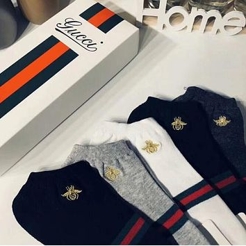 GUCCI Popular Women Men Casual Bee Embroidery Breathable Pure Cotton Sport Socks - Boxed