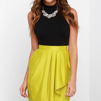 Leave Me Breathless Chartreuse High-Low Wrap Skirt