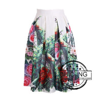 Vintage Chinese Style Floral Print Pleated Midi Skater Skirt For Women Girl One Size 14709 = 1946044804
