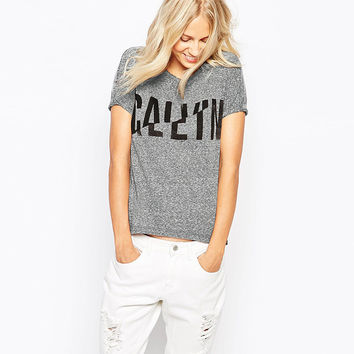 Casual Deformed Letter Printed Shirt