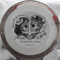 Skeleton Skull Wedding Couple Bride & Groom on Gold or Silver Dinnerware/Dishes/Plates, Goth Wedding, Steampunk Wedding, Victorian Wedding
