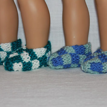 2 pairs hand knit doll slippers, 18 inch doll clothes, Upbeat Petites