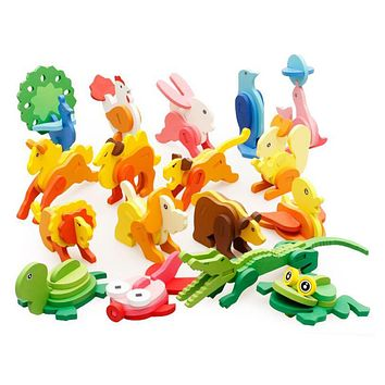 DIY Wooden Toys Cartoon Animal Assembled Turtle Tiger Duck 3D Puzzle Kids Developmental Educational Toys for Children